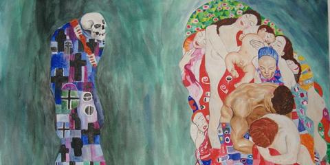 Um Tod und Leben, by Gustv Klimt