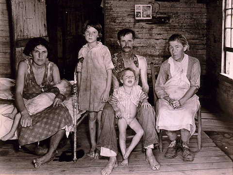 Bud Fields and his family at home by Walker Evans 1936