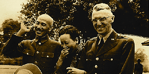 Joseph Stilwell with Chiang Kai-shek and Madame Chiang