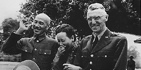Joseph Stilwell with Chiang Kai-shek and Madame Chiange in 1944