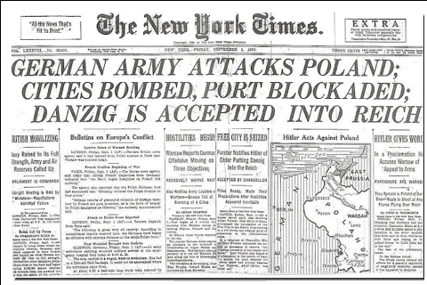 New York Times headlines September 1 1939