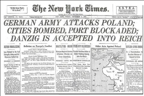 New York Times headlines September 1 1939