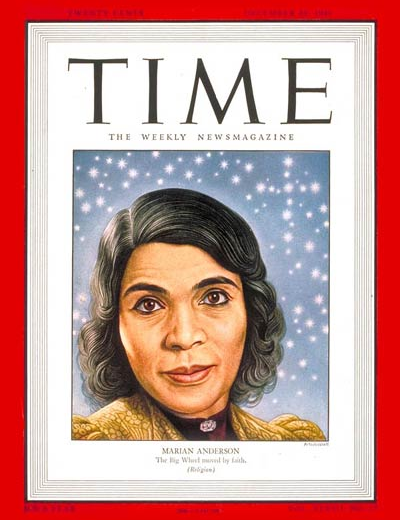 TIME cover of Marian Anderson by by Boris Artzybasheff 1947